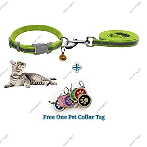 Kiki N Pooch Nylon Reflective Safety Pets Collar with Bell and Matching Leash 1.0 – Medium + one Tag for Cat (Combo)