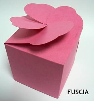Taza grande de la torta del mollete cajas, regalo de boda con corazón Fuscia color tapa (paquete x 25) caja de dulces: Amazon.es: Oficina y papelería