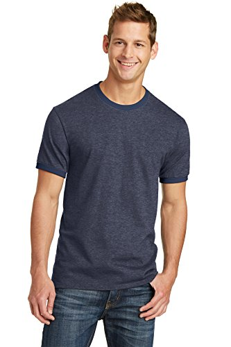 T-shirt Ringer Mens Heather (Port & Company PC54R 100% Cotton Ringer Tee - Heather Navy/Navy - 2XL)