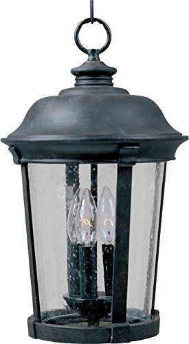 Maxim 3028CDBZ Dover Cast 3-Light Outdoor Hanging Lantern, Bronze Finish, Seedy Glass, CA Incandescent Incandescent Bulb , 50W Max., Dry Safety Rating, Fabric Shade Material, Rated Lumens ()