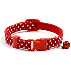 Pet Collars,Haoricu Collars Pet Supplies Polka Dot Cat Collars Pendant Necklace for Dog Adjustable Dog Collar Colliers (Red)