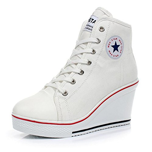 Womens Girl's Casual Plus Size High Top Wedge Heel Canvas Shoes Fashion Sneaker (10.5, White)