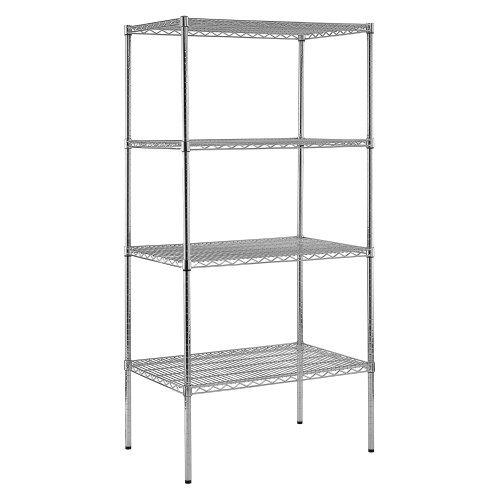 Steel Reinforced Shelving Unit - Sandusky Lee WS362486-C Chrome Steel Wire Shelving, 4 Adjustable Shelves, 800 lb. Per Shelf Capacity, 86