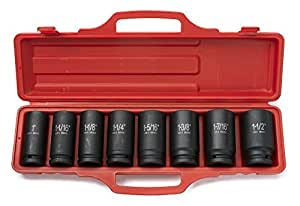 Neiko® 02461A ¾-inch Deep Impact SAE Sockets, 1 - 1½-inch | 8-Piece Cr-V Steel Set