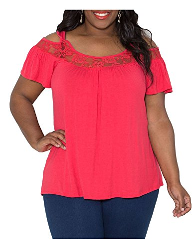 CutyKids Womens Tops Lace Off Shoulder Plus Blouse Short Sleeve T Shirt Red 2XL