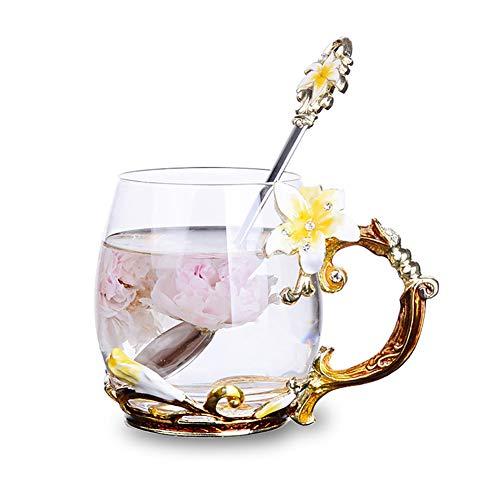 Tea Cup Coffee Mug Cups, Lily Flower Glass Tea Cup, Unique Personalized Birthday Present Ideas for Women Grandma Mom Teachers Hot Beverages 12OZ Orange ()