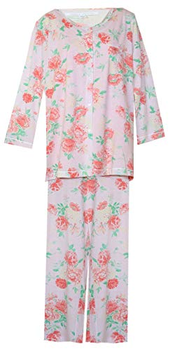 Carole Hochman 3-Piece Floral & Solid Pajamas Set PJ's (Peach with Orange Floral Green Leaves, Medium) (Carole Hochman 3 Piece)
