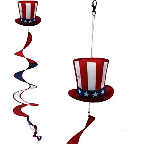 (4th of July Patriotic Wind Spinner - Uncle Sam Hat, Porch Wind Twirler, Garden Decoration 6