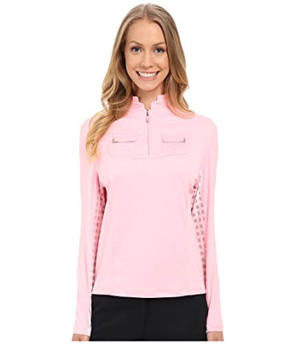 Jamie Sadock Women's Long Sleeve Top with Lace Mesh Panels Underarm Doll Face Pink ()