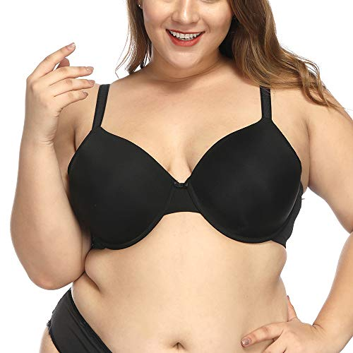 sheroine Plus Size Bra Full Coverage Underwire Light Padded Tshirt Bras for Women Minimizer(Black, US 36DD)