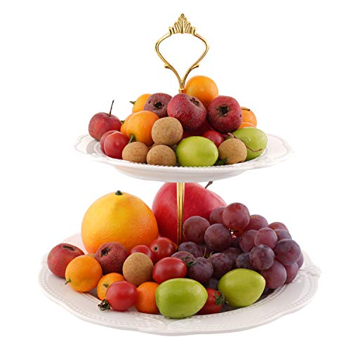 2 Tier Ceramic Fruit Plate Fruit Bowl Porcelain Cake Dessert Stand Pan Pastry Serving Tray Platter Cupcake Pastry With Round Plate for Birthday/Party/Wedding/Home White by SOPRETY (2 Tier Porcelain Plates)