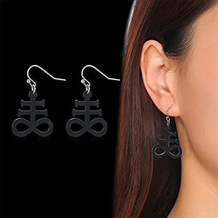 Inverted Cross Luciferian Double Earrings Gothic earrrings occult crucifix anti christ upside down cross sigil of lucifer