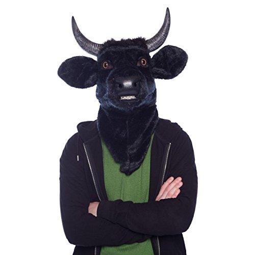 Moving Mouth Mask 21762 Moving Mouth Stierkopf Kuh Stier Deluxe Maske Tiermaske schwarz, Onze Größe
