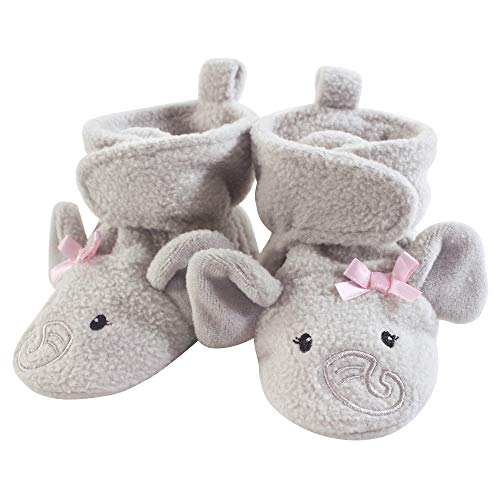 Hudson Baby Unisex Baby Cozy Fleece Booties, Pretty Elephant, 6-12 Months