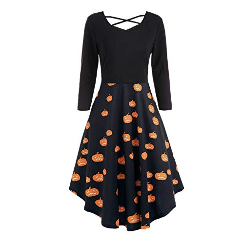 Dresses Dress Bat B Flare Halloween Print Sleeve Casual Hollow Orange Party Women Long Dress AwqPI