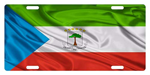 License Plate Covers Equatorial Guinea Flag National Emblem Wave Personalized Novelty, Custom Decorative Metal Sign Front Car Tag for US Vehicles 12 x 6 Inch ()