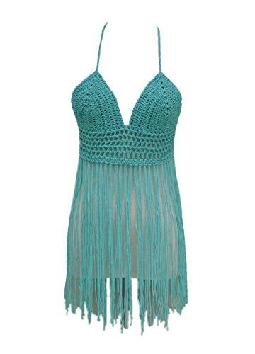 Fringe Bikini Halter Crop Top Handmade Crochet Swimsuit Summer Beachwear (Green)