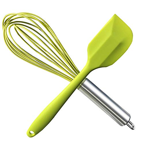 (HauBee Kitchen Wire Balloon Silicone Whisk Set 600ºF Heat Resistant Non Stick Rubber Stainless Steel Seamless Design Baking Cooking Spatulas Tools (2 Pack,Green),)