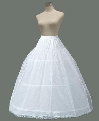 d777e9b2ff07b Amazon.co.jp: ウエディングパニエ ふんわり3本ワイヤー 2レイヤー プリンセスライン 白 結婚式 ブライダル  服&ファッション小物