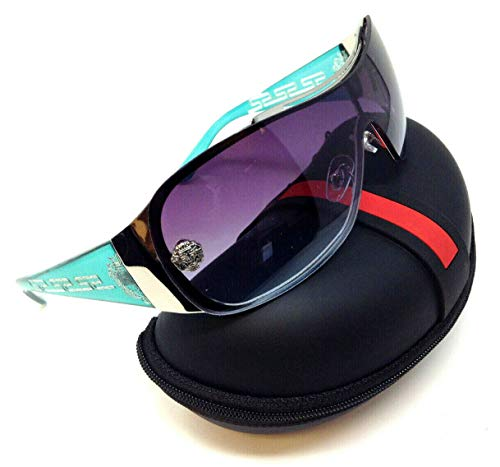 Kleo Greek Key Slim Shield Wrap Around Sunglasses (Green & Silver Frame w/Case, Blue Gradient)
