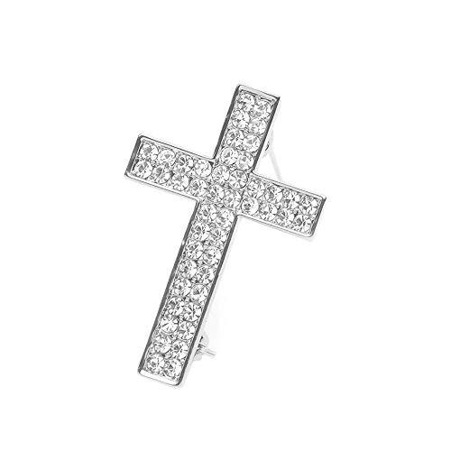 MANZHEN Delicate Gold Silver Crystal Rhinestone Cross Crucifix Brooch Pin (Silver)