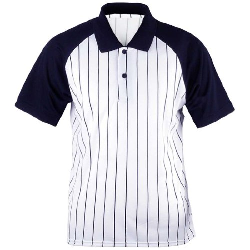 ililily Baseball Cool Fabric Lightweight striped mesh Jersey Polo Collar T-shirts with short sleeve for Men (tshirts-004-2-XS)