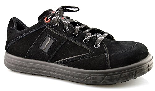 Mens New Leather Safety Skate Style Lace Up Work Boots Trainers Shoes Size 6-13 Black rj6kqGg