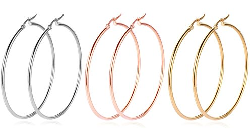 RLD Big Hoop Earrings, 18K Gold Plated Rose Gold Plated Stainless Steel Rounded Hoops Earrings in Gift Box, Hypoallergenic, Top Click Closure Hoop Earrings for Women/Girls, 55 (18k Gold Hoop Earrings)
