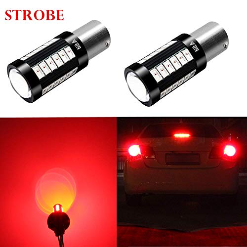 Alla Lighting 2800lm BA15S 1156 Red Strobe Flashing LED Bulbs Super Bright BA15S 7506 1156 LED Bulb High Power 5730 33-SMD LED 1156 Bulb for Cars Trucks Motorcycle Turn Signal Brake Stop Tail Lights