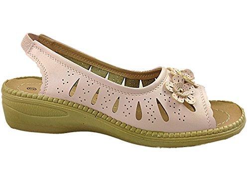 Damen Peep Rosa Zurück 3 8 Toe Schuhe Schuh Keil Sandalen Blumenbesatz Flach Baum Größe Sydney Sling Fidschi Niedrige TFwrITqg