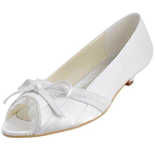 Heel Party 3cm Flatfs Evening Shoes Peep Satin Ivory Wedding Prom Womens Toe Bridal GYMZ683 Pumps Minitoo Sandals xnYO1qwZaZ