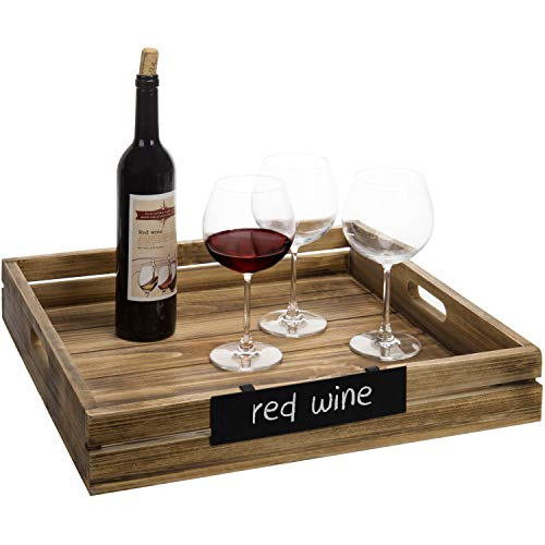 MyGift 19-Inch Square Burnt Wood Serving Tray with Removable Chalkboard Sign ()