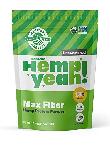 Manitoba Harvest Hemp Yeah! Organic Max Fiber Protein Powder, Unsweetened, 32oz; with 13g of Fiber, 13g Protein and 2.5g Omegas 3&6 per Serving, Keto-Friendly, Preservative Free, Non-GMO ()