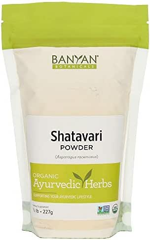 Banyan Botanicals Shatavari Powder, USDA Organic, 1/2 Pound, Asparagus Racemosus, Rejuvenative for Vata and Pitta that Promotes Vitality and Strength.