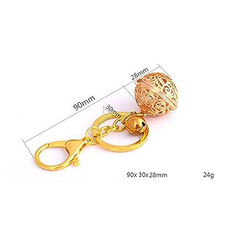 Milopon Llavero para Llaves con Cascabel Sonante Diseño Hueco Regalo Recuerdo Premio Decoración Plateado 11,8cm