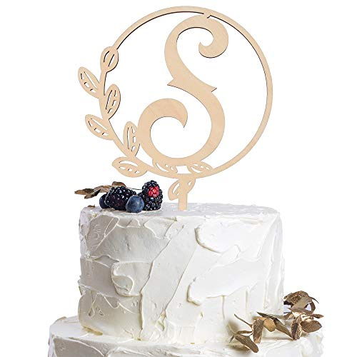 Letter S Personalized Initial Wood Cake Topper Monogram Wedding Anniversary Birthday Vow Reveal Party Decoration Supplies.