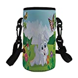Small Water Bottle Sleeve Neoprene Bottle Cover,Kids,Rabbit on the Grass with Bee and Butterfly Birds Flowers Children Cartoon Fun Design,Multicolor,Great for Stainless Steel and Plastic/Glass Bottles