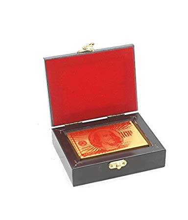 FUN n SHOP Luxury Golden Foil Poker Playing Cards with Box ( USD )