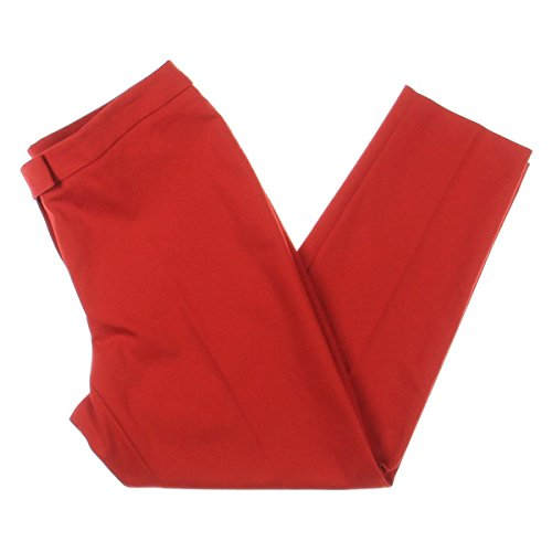 Anne Klein Womens Colored Straight-Leg Cropped Pants Red ()