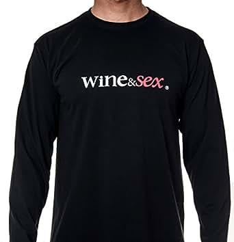 Wine&Sex Listán Largo - Camiseta hombre, manga larga, cuello redondo (M)