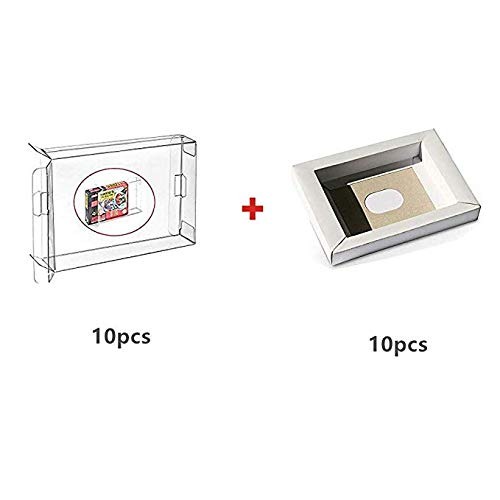 WiCareYo 10Pcs Carton Replacement Inner Inlay Insert Tray for PAL & NTSC Super SNES CIB Game Cartridge & 10pcs Clear Box Sleeve for SNES N64 Games Cartridge - Carton Replacement