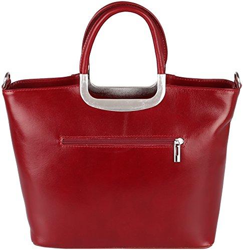 Valentina Handtasche / Henkeltasche aus Vachetteleder (Echt-Leder) Made in Italy Rot