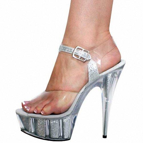Matrimonio Sexy Tacchi Argenteo Locali scarpe Di Impermeabile Scarpe Ultra Gtvernh Notturni Trasparenti Cristallo 15cm Sandali 37 4IPqwCx