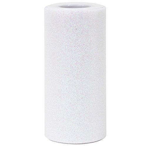 Glitter Tulle ([ 6' x 25yd ] White Glitter Tulle Rolls for party and craft (White, Glitter Tull Roll))