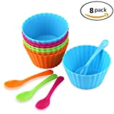 Color Plastic Bowl and Spoon Set of 8 Ice Cream Dessert Cake Fruit Snack Stackable Reusable Bowls for Kids
