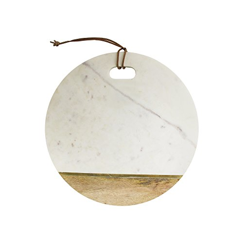 American Atelier White Marble and Wood with Gold Cutting Board, 13 inches