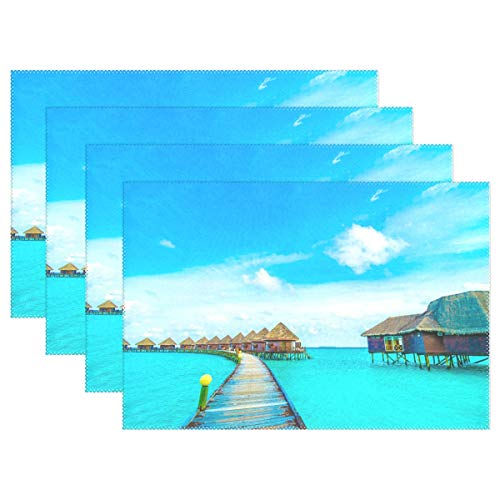 (INGBAGS Placemats Tropical Beach Seaside Place Mats Dining Table Mats Waterproof Non-Slip Nonstick Heat Resistant Christmas Decoration 4pcs)