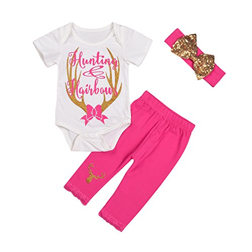Baby Girl Pink Camo - Baby Girls Deer Print White Romper+Long Pants+Headband 3Pcs Outfit Clothes Set (0-6 Months, A)