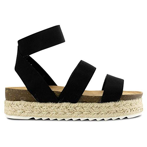 Women Casual Espadrille Slide On Platform Sandals Comfort Open Toe Ankle Elastic Strappy Studded Flatform Sandal Shoes (Black,11 M US=EU 42)