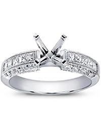1.25 ct Ladies Round & Princess Cut Diamond Semi Mount Ring in 14 kt White Gold